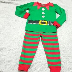 Children's Place Elf Christmas Pjs Red & Green 18m